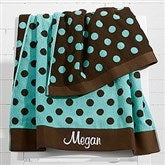 Embroidered Aqua/Brown Polka Dot Towel - 15726-B
