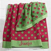 Embroidered Pink/Lime Polka Dot Towel - 15726-L