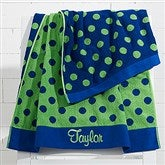Embroidered Navy/Green Polka Dot Towel - 15726-N
