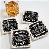 Whiskey Label Personalized Tumbled Stone Coaster Set - 15762