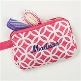 Geo Pink Embroidered Cosmetic Bag - 15764