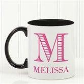 Striped Monogram Personalized Coffee Mug 11 oz.- Black - 15799-B