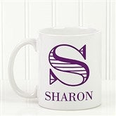 Striped Monogram Personalized Coffee Mug 11 oz.- White - 15799-S