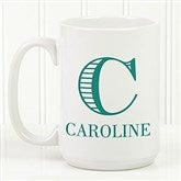 Striped Monogram Personalized Coffee Mug 15 oz.- White - 15799-L
