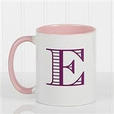 Striped Monogram Personalized Coffee Mug 11 oz.- Pink - 15799-P