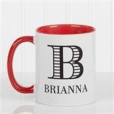 Striped Monogram Personalized Coffee Mug 11 oz.- Red - 15799-R