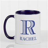 Striped Monogram Personalized Coffee Mug 11 oz.- Blue - 15799-BL