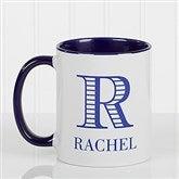 Striped Monogram Personalized Coffee Mug 11 oz.- Blue - 15799-BL