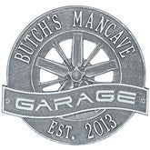 Racing Wheel Personalized Aluminum Garage Plaque - Pewter/Silver - 15806D-PS