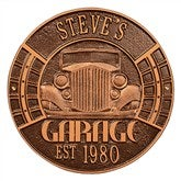 Vintage Car Personalized Aluminum Garage Plaque - Antique Copper - 15807D-AC