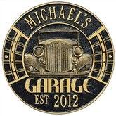 Vintage Car Personalized Aluminum Garage Plaque - Black/Gold - 15807D-BG