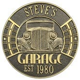 Vintage Car Personalized Aluminum Garage Plaque - Bronze/Gold - 15807D-OG