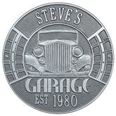 Vintage Car Personalized Aluminum Garage Plaque - Pewter/Silver - 15807D-PS