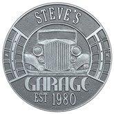 Vintage Car Personalized Aluminum Garage Plaque - Pewter/Silver - 15807D-PS