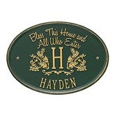 Bless Our Home Personalized Aluminum Plaque - Green/Gold - 15808D-GG