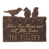 Birds on a Branch Personalized Aluminum Plaque - Antique Copper - 15809D-AC