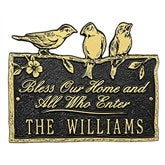 Birds on a Branch Personalized Aluminum Plaque - Black/Gold - 15809D-BG