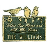Birds on a Branch Personalized Aluminum Plaque - Green/Gold - 15809D-GG