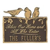 Birds on a Branch Personalized Aluminum Plaque - Bronze/Gold - 15809D-OG