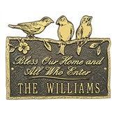 Birds on a Branch Personalized Aluminum Plaque - Bronze/Gold - 15809D-OG