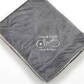 Warmhearted Wedding Embroidered Sherpa Blanket- Grey - 15815-G