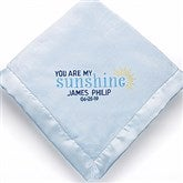 You Are My Sunshine Embroidered Keepsake Blanket- Blue - 15847-B