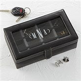 Leather 12 Slot Cufflink Box- Monogram - 15866-M