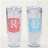 Blooming Monogram Personalized Flip 'n' Sip Tumbler - 15891-T