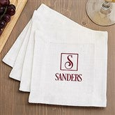 Square Monogram Personalized Cloth Cocktail Napkins-Set of 4 - 15895