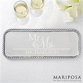 Wedded Pair Personalized Mariposa® String of Pearls Rectangle Serving Tray - 15900