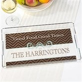 Classic Chevron Personalized Serving Tray - 15907
