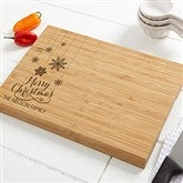 Snowflakes Personalized Bamboo Cutting Board- 10x14 - 15909
