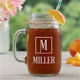 Square Monogram Personalized Glass Mason Jar - 15922