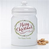 Happy Holidays Personalized Cookie Jar - 15927