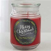 Happy Holidays Personalized Scented Glass Candle Jar - 15942