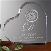 The Heart Of Our Home Engraved Heart Clock - 15953