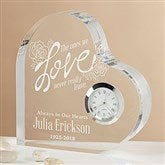 The Ones We Love Engraved Heart Clock - 15954