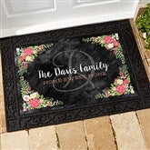 Posh Floral Welcome Personalized Doormat- 18x27 - 15969