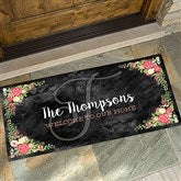 Posh Floral Welcome Personalized Oversized Doormat- 24x48 - 15969-O