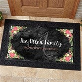 Posh Floral Welcome Personalized Doormat- 20x35 - 15969-M