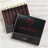 Wedding & Anniversary Personalized 30-Strike Matches w/ Graphic - Black - 15986D-B