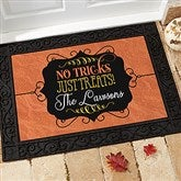 No Tricks, Just Treats Personalized Recycled Rubber Back Doormat - 16047