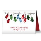 Warm Mitten Family Personalized Christmas Cards - 16091