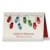 Warm Mitten Family Personalized Pearlized Christmas Cards - 16091-D