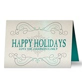 Family Swirl Personalized Pearlized Christmas Cards - 16101-D