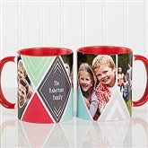 3 Photo Diamond Personalized Coffee Mug 11oz.- Red - 16113-R