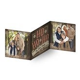 HO HO HO Personalized Square Tri-Fold Photo Cards - 16115