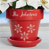 Falling Snowflake Family Personalized Flower Pot - 16195
