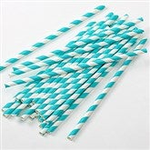 Teal Striped Paper Straws - Pack of 25 - 16205