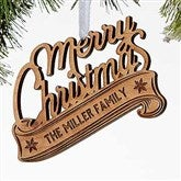 Merry Christmas Personalized Wood Ornament - 16237